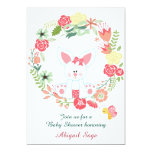 Cute Girl Bunny and Flower Wreath Baby Shower Card