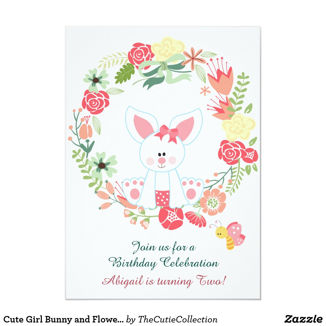 Cute Girl Bunny and Flower Wreath Birthday Card