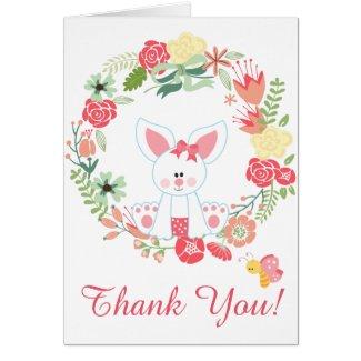 Cute Girl Bunny and Flower Wreath Thank You Card