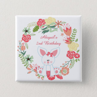 Cute Girl Bunny and Wreath Birthday Button
