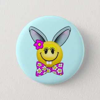 Cute Girl Bunny Smiley Face Pin