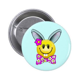 Cute Girl Bunny Smiley Face Pin