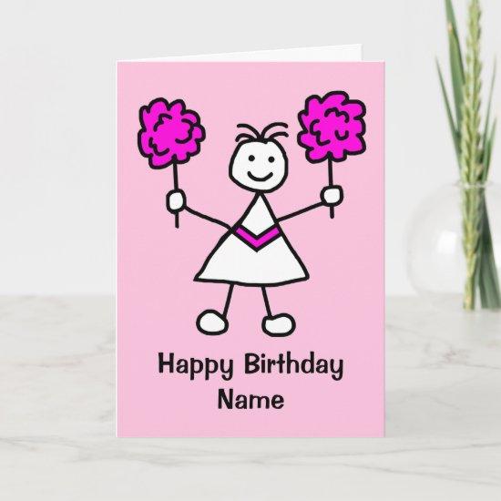Cute Girl Cheerleader Pink Birthday Card