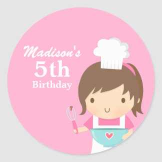 Cute Girl Chef Cooking Baking Birthday Party Classic Round Sticker