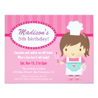 Cute Girl Chef Cooking Baking Birthday Party 4.25x5.5 Paper Invitation Card