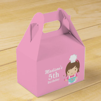 Cute Girl Chef Cooking Baking Birthday Party Party Favor Box