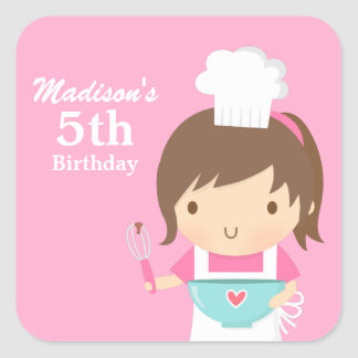 Cute Girl Chef Cooking Baking Birthday Party Square Sticker