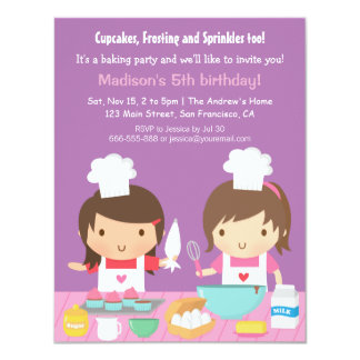 "Cute Girl Chef Cupcake Baking Birthday Party 4.25"" X 5.5"" Invitation Card"