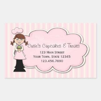 Cute Girl Chef, Cupcake, Pink Rectangular Sticker