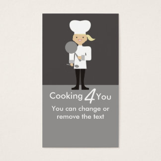 cute girl chef frying pan spoon cooking busines... business card