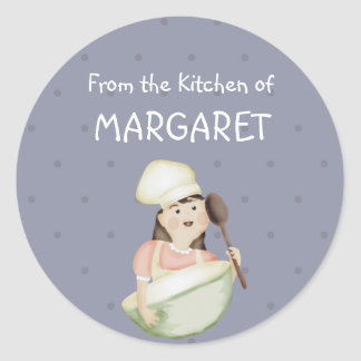 cute girl chef hat mixing bowl bakery food kitc... classic round sticker