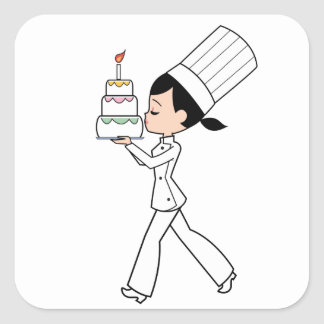 Cute Girl Chef with Cake Illustrated STICKER