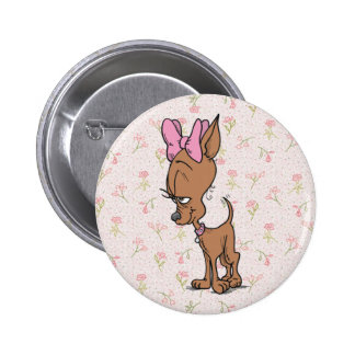 Cute Girl Chihuahua Cartoon Button