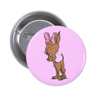 Cute Girl Chihuahua Cartoon Pinback Button