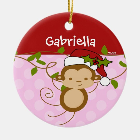 Cute Girl Christmas Ornament Monkey Pink Red