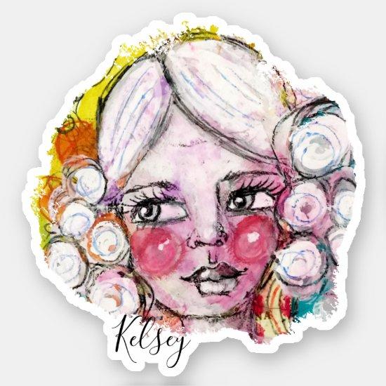 Cute Girl Colorful Whimsical Art Fun Cute Add Name Sticker