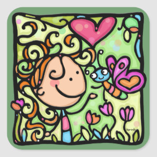 Cute girl curly hair butterfly flowers heart GREEN Square Sticker