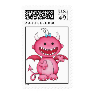 Cute Girl Devil Postage Stamps