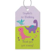 Cute Girl Dinosaur Party Favor Tags