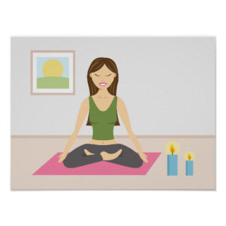 Cute Girl Doing Yoga In A Pretty Room Poster