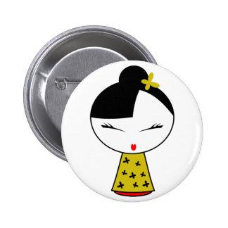 Cute Girl Doll Button