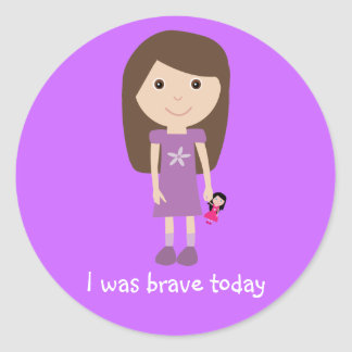 Cute Girl & Doll I Was Brave Today Lilac Stickers