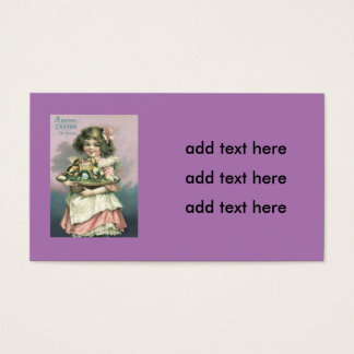Cute Girl Easter Basket Chick Colored Egg Business Card
