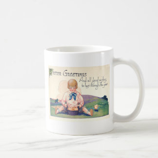 Cute Girl Easter Basket Chicks Coffee Mug