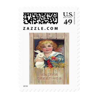 Cute Girl Easter Bunny Colored Egg Postage