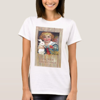 Cute Girl Easter Bunny Colored Egg T-Shirt