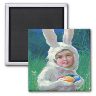 Cute Girl Easter Bunny Costume Field Magnet