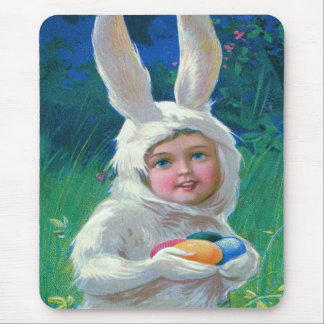 Cute Girl Easter Bunny Costume Field Mouse Pad