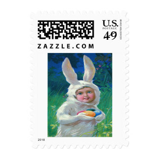 Cute Girl Easter Bunny Costume Field Postage