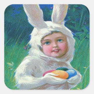 Cute Girl Easter Bunny Costume Field Square Sticker