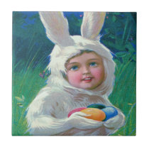 Cute Girl Easter Bunny Costume Field Tile
