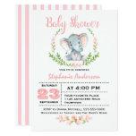 Cute Girl Elephant Baby Shower Invitation