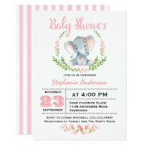 Cute Girl Elephant Baby Shower Invitation