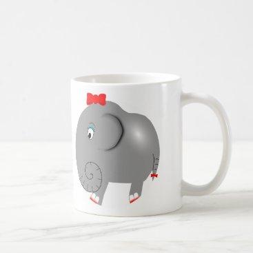 Coffee Themed Cute Girl Elephant Pretty Bow Fun Girly Coffee Mug