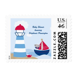 Cute girl elephant sailor baby shower stamp stamp
