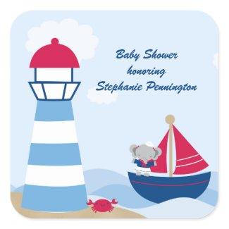 Cute girl elephant sailor baby shower stickers sticker