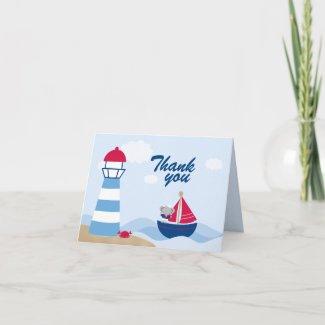 Cute girl elephant sailor thank you folded card card