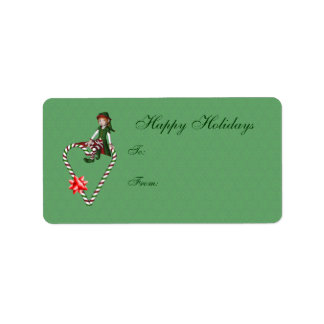 Cute Girl Elf Candy Cane Heart Holiday Gift Tag
