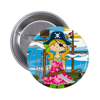 Cute Girl Eyepatch Pirate Button Badge