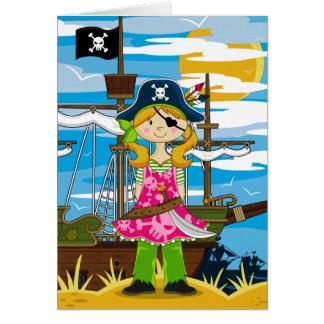 Cute Girl Eyepatch Pirate Greeting Card