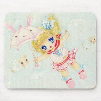 Cute girl flying with kawaii bunny umbrella mouse pad