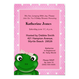 Cute  Girl Frog Baby Shower  Invitation