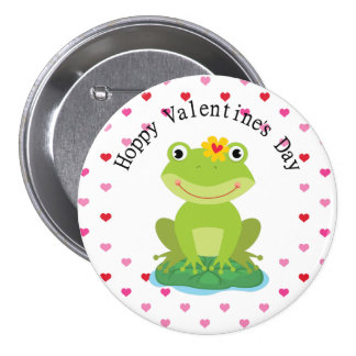 Cute Girl Frog Valentine Pinback Button