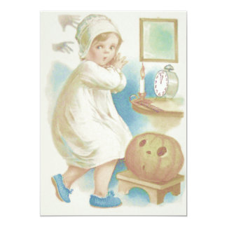 Cute Girl Ghost Jack O Lantern Pumpkin Card