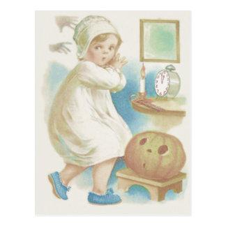 Cute Girl Ghost Jack O Lantern Pumpkin Postcard