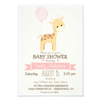 Cute Girl Giraffe, Jungle Zoo Animal Baby Shower Card